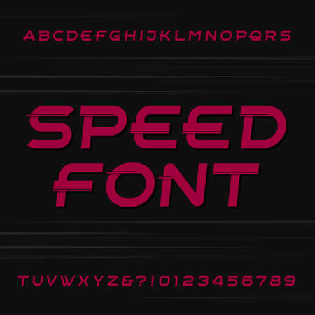 quickness: Speed alphabet font. Oblique letters and numbers on a dark background. Stock typeface for your design.