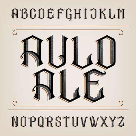Alte Alphabet Schriftart. Distressed Hand Buchstaben gezeichnet. Weinlese-Alphabet für Etiketten, Schlagzeilen, Plakate etc.