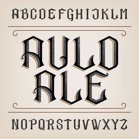 old letter: Old alphabet font. Distressed hand drawn letters. Vintage alphabet for labels, headlines, posters etc.