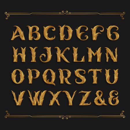 Decoratieve sierlijke alfabet lettertype. Gouden bladletters.