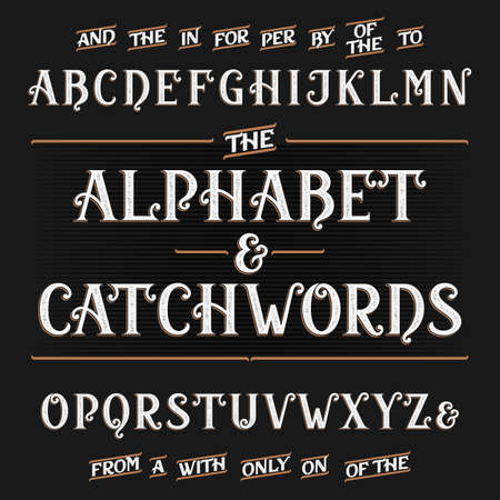 typeset: Vintage alphabet font with catchwords Illustration