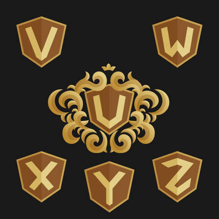 y ornament: Decorative Ornate monogram emblem template. Stylish set of vector monograms. Golden shield with crown and letters from U to Z.