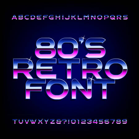 80s retro alphabet font. Metallic effect shiny letters and numbers.