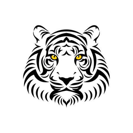 dominacion: icono de la cabeza del tigre. Ilustración vectorial material.