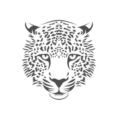豹頭のアイコン。1 つの色です。株式ベクトル イラスト。