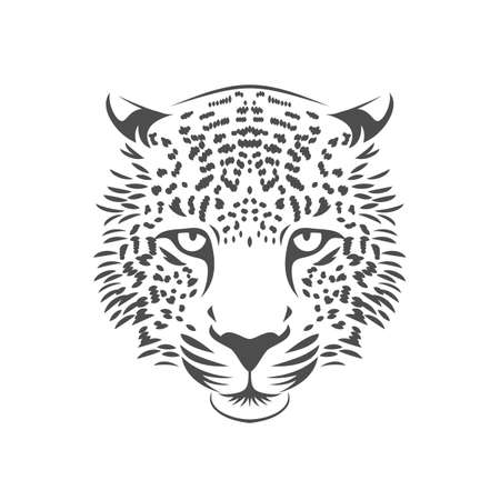 Leopard head icon. One color. Stock vector illustration.