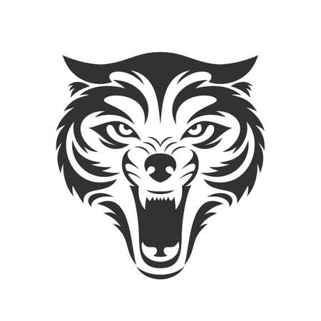 Wolf bares its teeth. Wolf head icon in one color. Stock vector illustration.