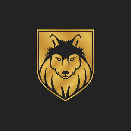 carnivores: Dog or wolf head icon in one color. Golden shield. Security concept - vector illustration.