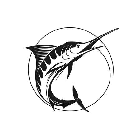 blue marlin: Blue marlin vector sign. Vector fishing. Catching marlin on the hook. Stock vector illustration in one color.