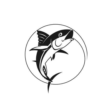Pêche vectorielle. Atteindre le thon sur le crochet. Illustration vectorielle stock dans une seule couleur.