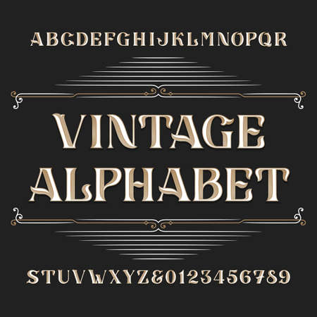 headlines: Vintage alphabet vector font. Type letters and numbers. Ornate vector font for labels, headlines, posters etc. Illustration