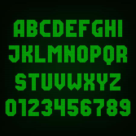 led display: Green led digital display font. Vector alphabet - dot letters and numbers.