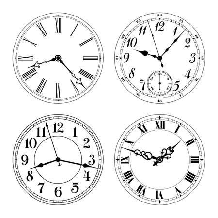Edytowalne zegar wektora twarze. Arabskie i rzymskie cyfry. Okrągły kształt. Łatwo usunąć i zastąpić ręce i design.