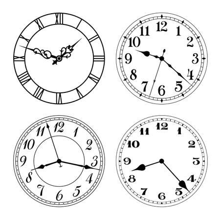 dial: Vector clock faces in black and white. Arabic and roman numerals. Round shape. Easily replace hands and design.