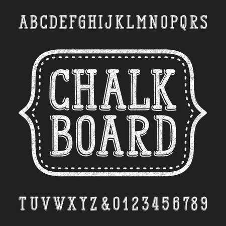 titles: Chalk board hand drawn font. Vector alphabet - type letters and numbers. Illustration