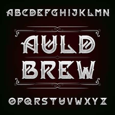 typeset: Distressed vintage alphabet vector font. Ornate letters for labels, headlines, posters etc.
