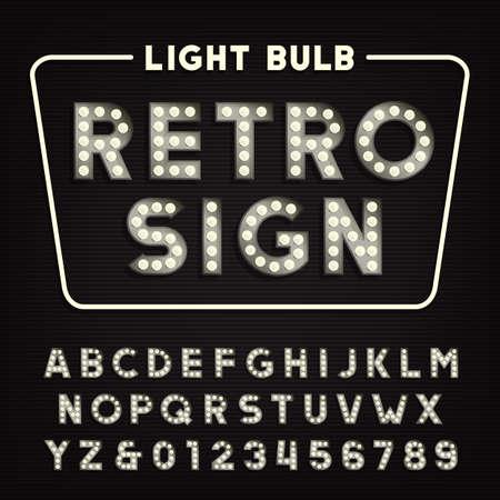 alphabet signe rétro. lettres et chiffres de type ampoule Vintage.