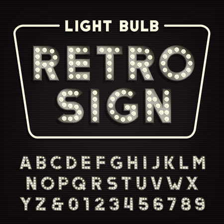 retro font: Retro sign alphabet. Vintage light bulb type letters and numbers. Illustration
