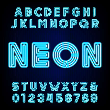 Retro blue neon tube alphabet. Type letters and numbers on a dark background. Çizim
