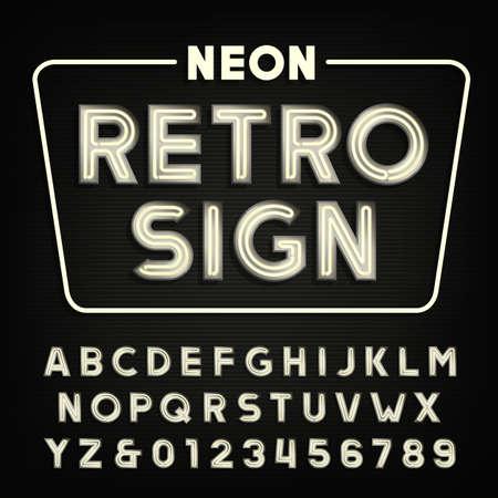 Rétro signe alphabet. néon vintage de lettres et de chiffres de type tube.