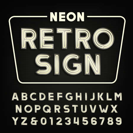 neon sign: Retro sign alphabet. Vintage neon tube type letters and numbers. Illustration
