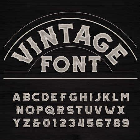 vendimia de la fuente. alfabeto retro. cartas sucias en un fondo de madera del grunge. Ilustración de vector