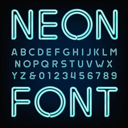 Neon tube alphabet font. Type letters and numbers on a dark background. Stock Illustratie