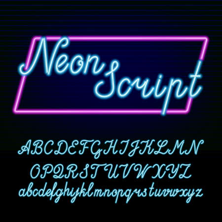 Neon tube alphabet font. Hand drawn script type letters and numbers on a dark background.