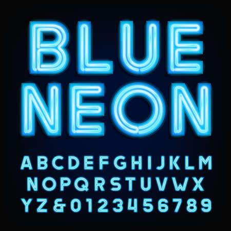 Blue neon tube alphabet font. Type letters and numbers on a dark background.  typeface for labels, titles, posters etc. Çizim