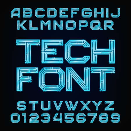 complexity: Tech font Alphabet. Digital hi-tech style letters and numbers.