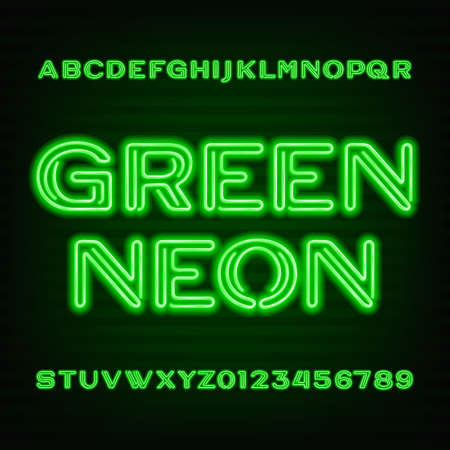 Neon tube alphabet font. Green type letters and numbers on a dark background.