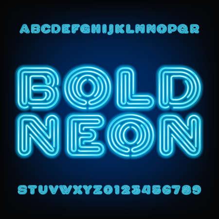 Neon buis alfabet lettertype. Gewaagde letters en cijfers op een donkere achtergrond.