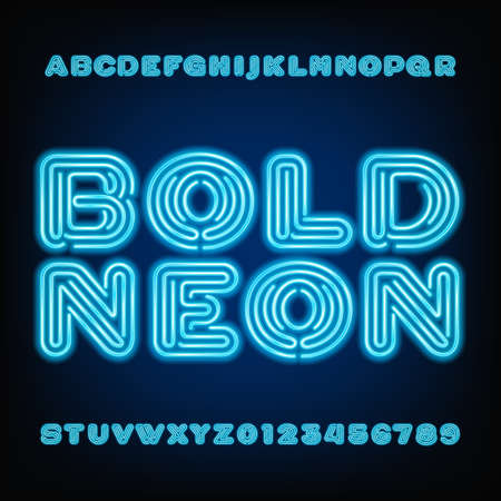 customization: Neon tube alphabet font. Bold type letters and numbers on a dark background.