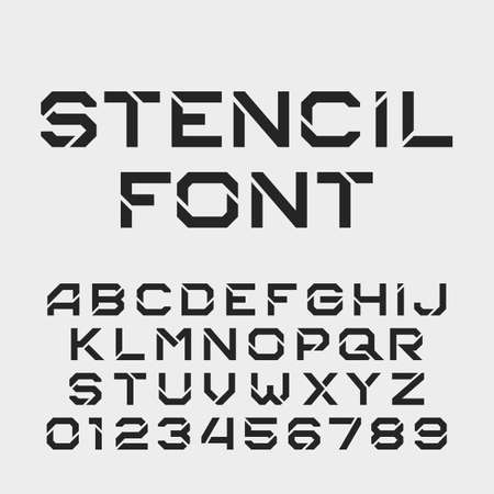 tough: Stencil alphabet font. Tough type letters and numbers.