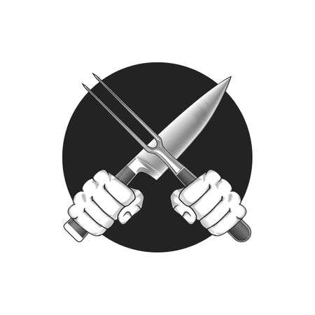 La barbacoa o la ilustración de cocción. Dos manos con el cuchillo cruzadas y tenedor sobre un fondo redondo.