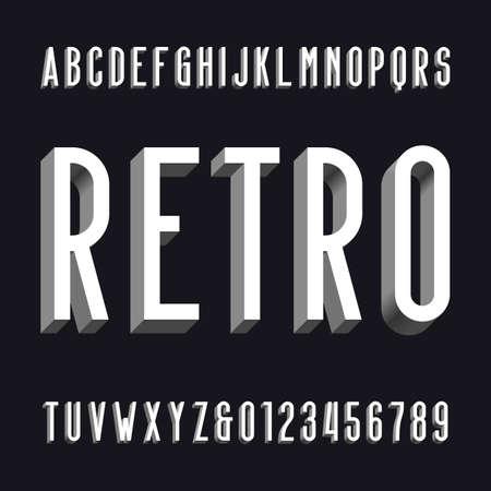 retro type: Volumetric retro alphabet font. Volume type letters and numbers.
