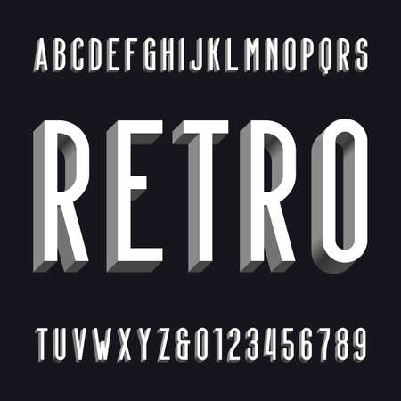volumetric: Volumetric retro alphabet font. Volume type letters and numbers.