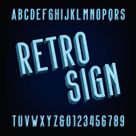 volumetric: Neon retro sign alphabet font. Volumetric type letters and numbers. Illustration