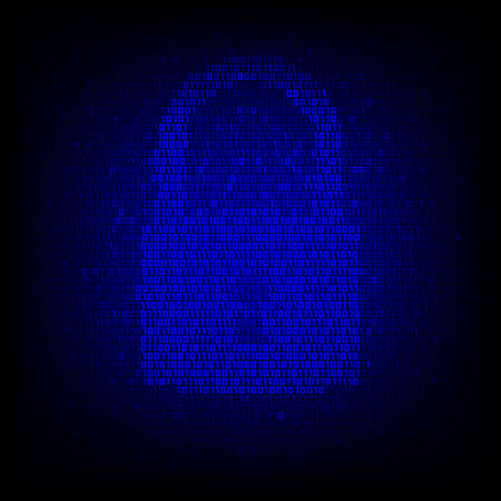 lock symbol: Security concept. Binary code lock symbol on the digital high tech style background. Illustration