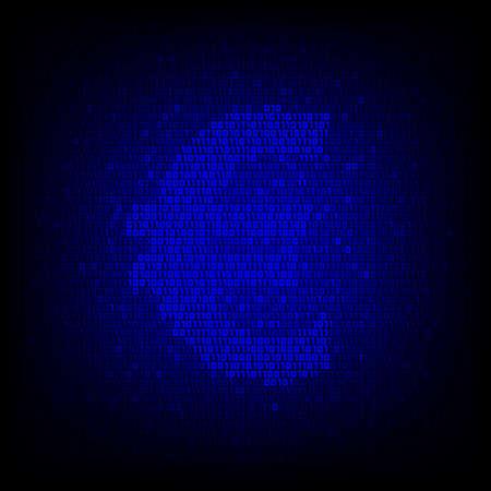 Electronic money concept. Binary code euro symbol on the digital high tech style vector background. Иллюстрация