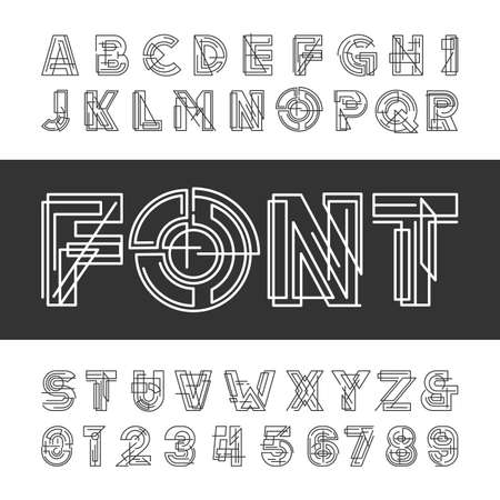 alphabet greek: Decorative geometric alphabet font. Type letters and numbers. typeface for headlines, posters etc.