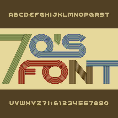 retro type: Retro stripe alphabet font. Funky type letters, numbers and symbols. Typography for headlines, posters etc. in 70s style.