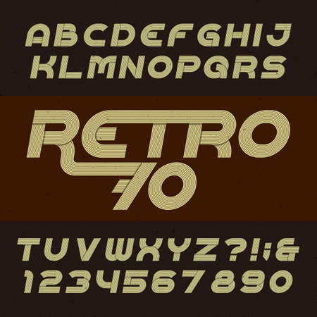 retro type: Retro stripe alphabet font. Funky oblique type letters, numbers and symbols. Typography for headlines, posters etc. in 70s style.
