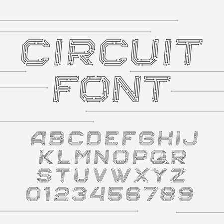 oblique: Circuit board font. Digital hi-tech style oblique letters and numbers.