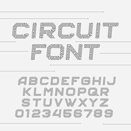 Circuit board font. Digital hi-tech style oblique letters and numbers.