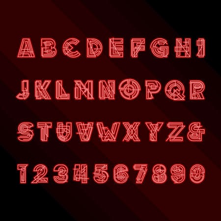 headlines: Decorative geometric alphabet font. Glowing type letters and numbers. Vector typeface for headlines, posters etc.
