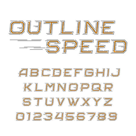 quickness: Outline speed alphabet font. Oblique letters and numbers in line style. Vector typeface for your design.