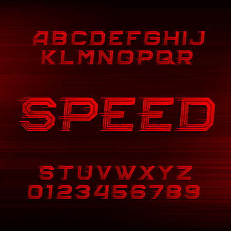 quickness: Speed ??alphabet font. Oblique dynamic red letters and numbers on a dark background. Vector typeface for your design.