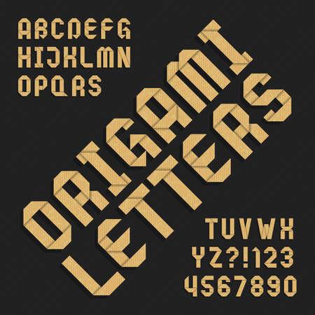 折り紙アルファベットのフォントです。テクスチャ紙の種類の文字と数字。あなたのデザインのベクトル タイポグラフィ。  イラスト・ベクター素材