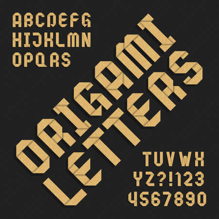 Origami alphabet font. Textured paper type letters and numbers. Vector typography for your design.